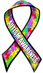 Autism awareness rainbow puzzle ribbon