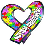 Autism awareness rainbow puzzle ribbon heart t-shirt