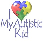 i love my autistic kid puzzle heart t-shirt