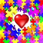 autism asperger's love breaks though puzzle button t-shirt