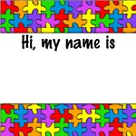 autism aspergers name tag puzzle button