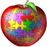 autism asperger's teacher puzzle apple t-shirt