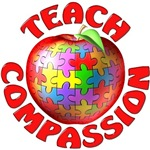 autism teach compassion puzzle apple t-shirt