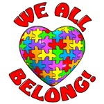 autism asperger's we all belong heart t-shirt
